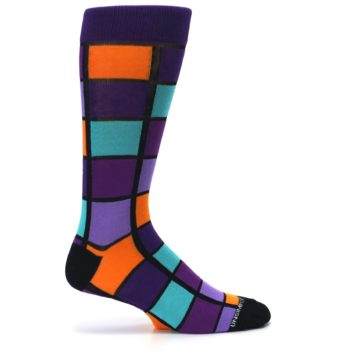 Image of Purple Orange Teal Checkered Men's Dress Socks (side-1-24)
