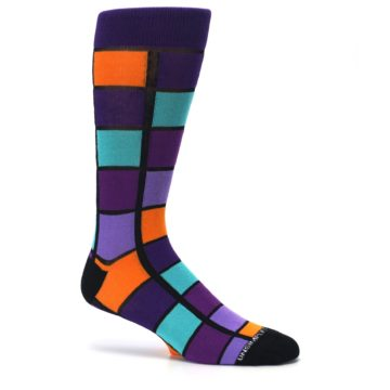 Image of Purple Orange Teal Checkered Men's Dress Socks (side-1-25)