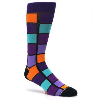 Image of Purple Orange Teal Checkered Men's Dress Socks (side-1-26)