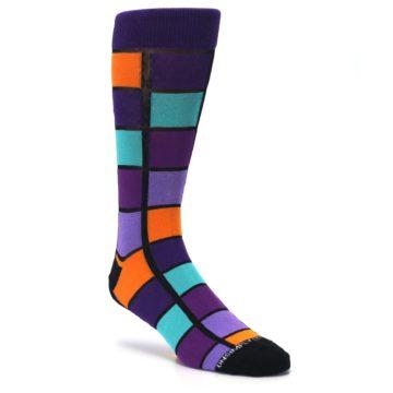 Image of Purple Orange Teal Checkered Men's Dress Socks (side-1-27)