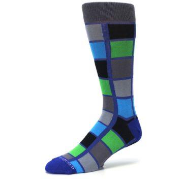Image of Blue Gray Green Checkered Men's Dress Socks (side-2-09)