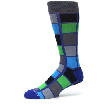 Image of Blue Gray Green Checkered Men's Dress Socks (side-2-10)
