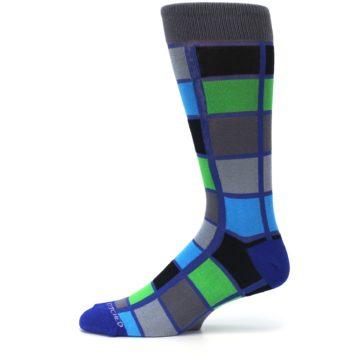 Image of Blue Gray Green Checkered Men's Dress Socks (side-2-11)