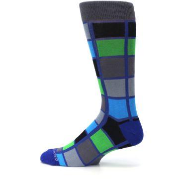 Image of Blue Gray Green Checkered Men's Dress Socks (side-2-12)