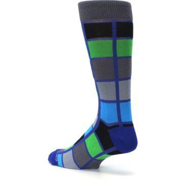 Image of Blue Gray Green Checkered Men's Dress Socks (side-2-back-14)