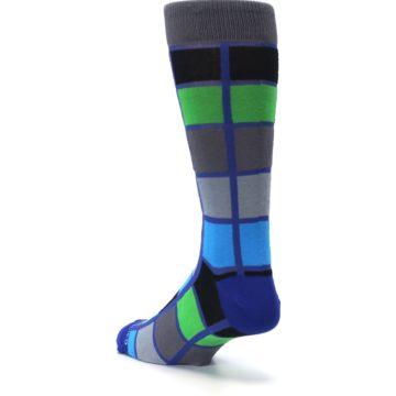 Image of Blue Gray Green Checkered Men's Dress Socks (side-2-back-15)
