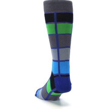 Image of Blue Gray Green Checkered Men's Dress Socks (side-2-back-16)