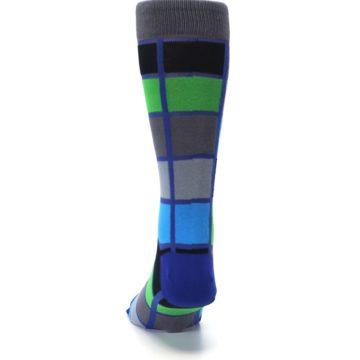 Image of Blue Gray Green Checkered Men's Dress Socks (back-17)