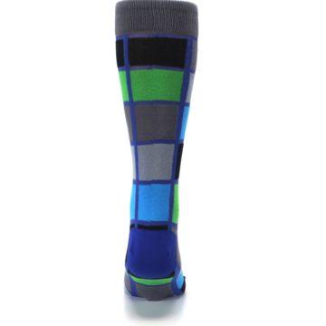 Image of Blue Gray Green Checkered Men's Dress Socks (back-18)