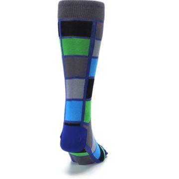 Image of Blue Gray Green Checkered Men's Dress Socks (back-19)
