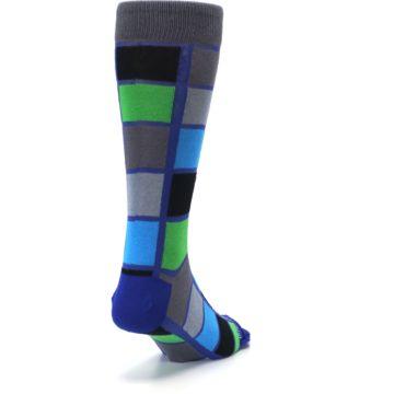 Image of Blue Gray Green Checkered Men's Dress Socks (side-1-back-20)