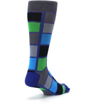 Image of Blue Gray Green Checkered Men's Dress Socks (side-1-back-21)