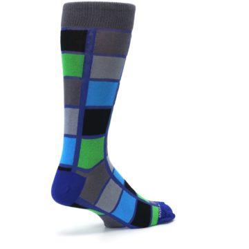Image of Blue Gray Green Checkered Men's Dress Socks (side-1-back-22)