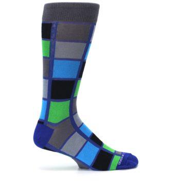 Image of Blue Gray Green Checkered Men's Dress Socks (side-1-24)