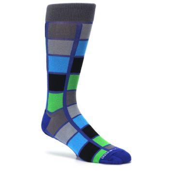 Image of Blue Gray Green Checkered Men's Dress Socks (side-1-26)