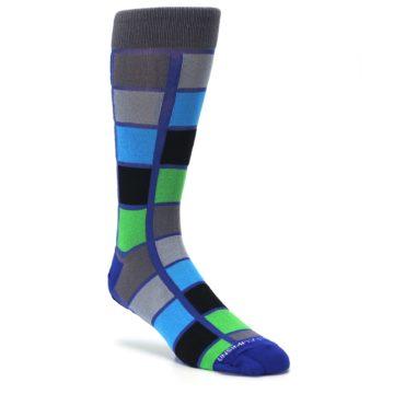 Image of Blue Gray Green Checkered Men's Dress Socks (side-1-27)