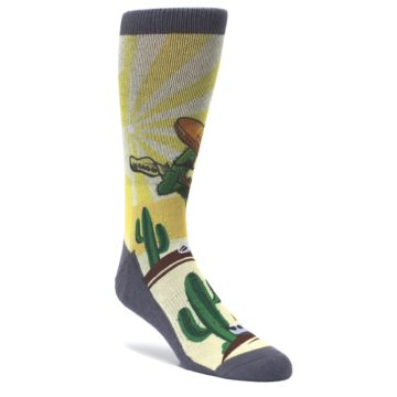 Guitar-Playing-Cactus-Mens-Casual-Socks-Good-Luck-Socks