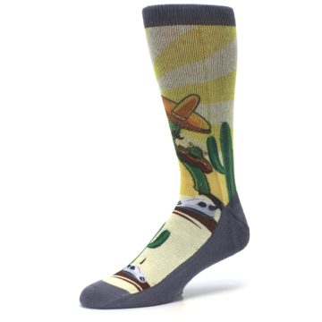 Image of Guitar Playing Cactus Men's Casual Socks (side-2-09)