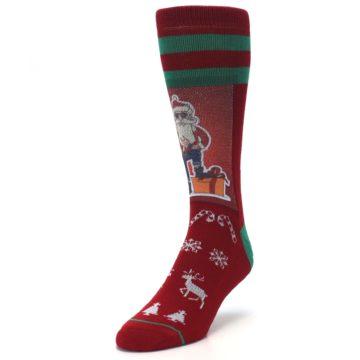 Image of Red Hip Santa Christmas Men's Casual Socks (side-2-front-07)