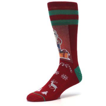 Image of Red Hip Santa Christmas Men's Casual Socks (side-2-09)