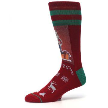 Image of Red Hip Santa Christmas Men's Casual Socks (side-2-10)