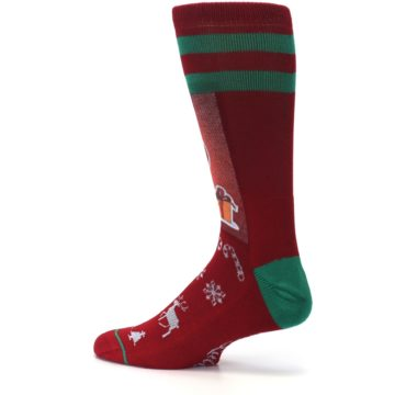 Image of Red Hip Santa Christmas Men's Casual Socks (side-2-13)