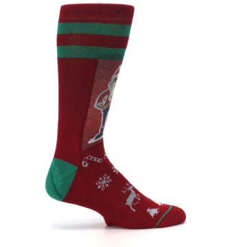Image of Red Hip Santa Christmas Men's Casual Socks (side-1-24)