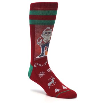 Image of Red Hip Santa Christmas Men's Casual Socks (side-1-27)