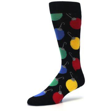 Image of Black Christmas Bulb Ornaments Men's Dress Socks (side-2-09)