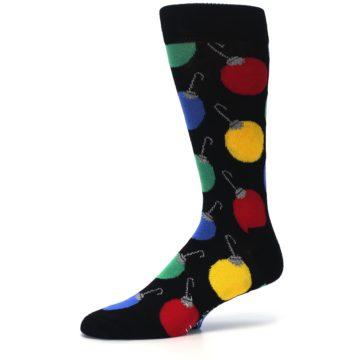 Image of Black Christmas Bulb Ornaments Men's Dress Socks (side-2-10)