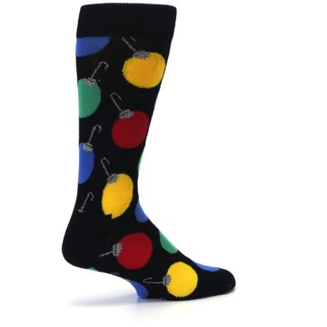 Image of Black Christmas Bulb Ornaments Men's Dress Socks (side-1-23)