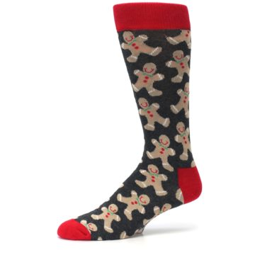 Image of Gray Tan Gingerbread Man Men's Dress Socks (side-2-10)