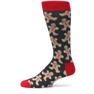 Image of Gray Tan Gingerbread Man Men's Dress Socks (side-2-11)