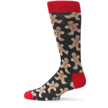 Image of Gray Tan Gingerbread Man Men's Dress Socks (side-2-12)
