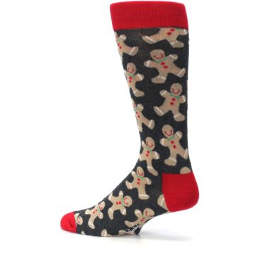 Image of Gray Tan Gingerbread Man Men's Dress Socks (side-2-13)