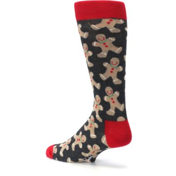 Image of Gray Tan Gingerbread Man Men's Dress Socks (side-2-back-14)