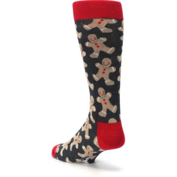 Image of Gray Tan Gingerbread Man Men's Dress Socks (side-2-back-15)
