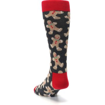 Image of Gray Tan Gingerbread Man Men's Dress Socks (side-2-back-16)