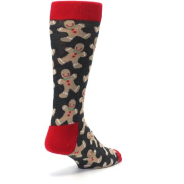Image of Gray Tan Gingerbread Man Men's Dress Socks (side-1-back-21)
