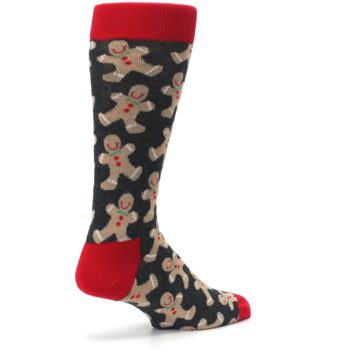 Image of Gray Tan Gingerbread Man Men's Dress Socks (side-1-back-22)