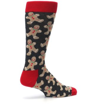 Image of Gray Tan Gingerbread Man Men's Dress Socks (side-1-23)