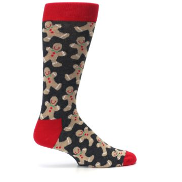 Image of Gray Tan Gingerbread Man Men's Dress Socks (side-1-24)