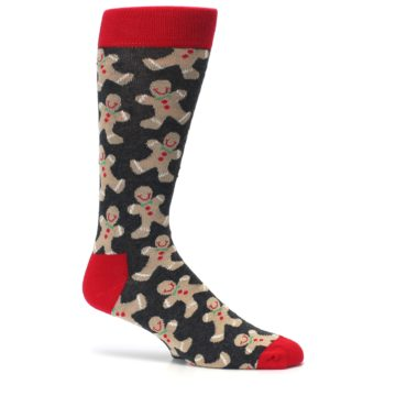 Image of Gray Tan Gingerbread Man Men's Dress Socks (side-1-25)