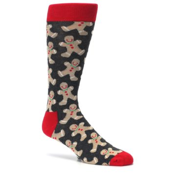 Image of Gray Tan Gingerbread Man Men's Dress Socks (side-1-26)