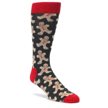 Image of Gray Tan Gingerbread Man Men's Dress Socks (side-1-27)