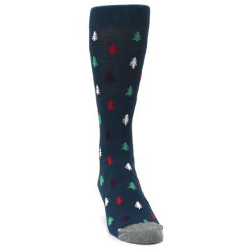 Image of Blue Green Christmas Trees Men's Dress Socks (side-1-front-03)