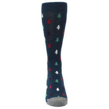 Image of Blue Green Christmas Trees Men's Dress Socks (front-04)