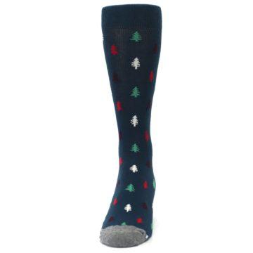 Image of Blue Green Christmas Trees Men's Dress Socks (front-05)