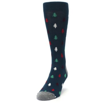 Image of Blue Green Christmas Trees Men's Dress Socks (side-2-front-06)