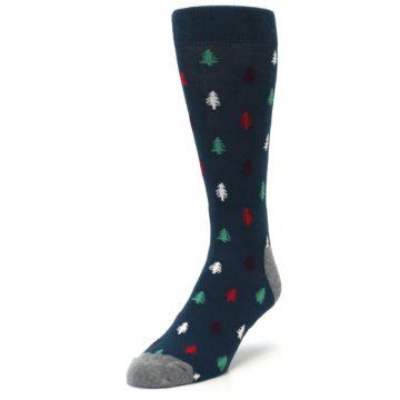 Image of Blue Green Christmas Trees Men's Dress Socks (side-2-front-07)